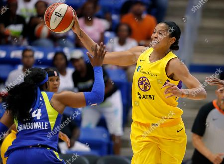 Candace Parker, Arike Ogunbowale. Dallas Wings' Arike Ogunbowale (24) defends against a pass by Los Angeles Sparks forward Candace Parker, right, in the first half of a WNBA basketball game in Arlington, Texas