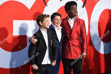 """Jacob Tremblay, Brady Noon, Keith L. Williams. Jacob Tremblay, from left, Brady Noon and Keith L. Williams arrive at the premiere of """"Good Boys"""", at the Regency Village Theatre in Los Angeles"""
