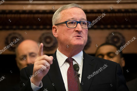 Philadelphia Mayor Jim Kenney speaks during a news conference at City Hall in Philadelphia,. A gunman, identified as Maurice Hill, wounded six police officers before surrendering early Thursday, after a 7 ½-hour standoff
