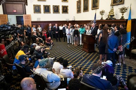 Sen. Bob Casey, D-Pa., speaks during a news conference at City Hall in Philadelphia, . A gunman, identified as Maurice Hill, wounded six police officers before surrendering early Thursday, after a 7 ½-hour standoff