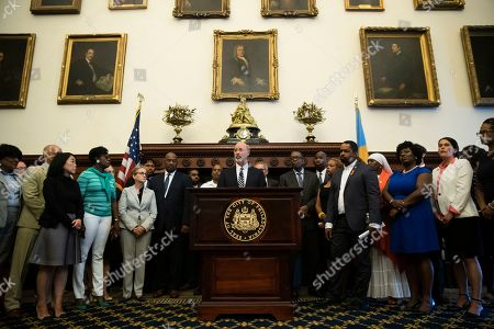 Pennsylvania Gov. Tom Wolf speaks during a news conference at City Hall in Philadelphia, . A gunman, identified as Maurice Hill, wounded six police officers before surrendering early Thursday, after a 7 ½-hour standoff