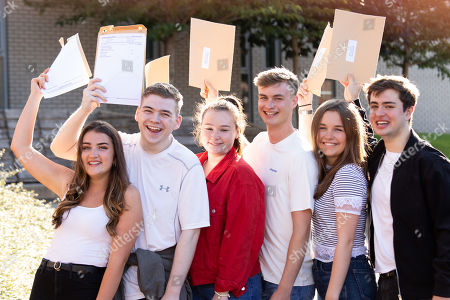 Stock Picture of Solihull School A level results. From left, Marisa, Matt, Ella, Thomas, Georgina, Max.