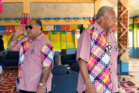 Stock Photo of Nauru's President Baron Waqa and Fiji's Prime Minister Frank Bainimarama waiting for the family photo before the Leaders Retreat at the Pacific Islands Forum (PIF) in Funafuti, Tuvalu, 15 August 2019. The 50th Pacific Islands Forum and Related Meetings, fostering cooperation between governments comprising 18 countries in the region, run from 13 to 16 August 2019 in Tuvalu.
