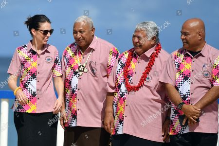 (L-R) New Zealand's Prime Minister Jacinda Ardern, Fiji's Prime Minister Frank Bainimarama, Samoa's Prime Minister Tuilaepa Aiono Sailele Malielegaoi, Federated States of Micronesia's President David W. Panuelo wait to pose for the family photo before the Leaders Retreat at the Pacific Islands Forum (PIF) in Funafuti, Tuvalu, 15 August 2019. The 50th Pacific Islands Forum and Related Meetings, fostering cooperation between governments comprising 18 countries in the region, run from 13 to 16 August 2019 in Tuvalu.