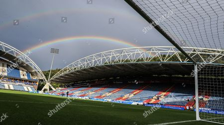 16th August 2019, John Smiths Stadium, Huddersfield England; Sky Bet Championship, Huddersfield Town vs Fulham ; A double rainbow shines above a wet John Smith Stadium  Credit: Mark Cosgrove/News Images English Football League images are subject to DataCo Licence
