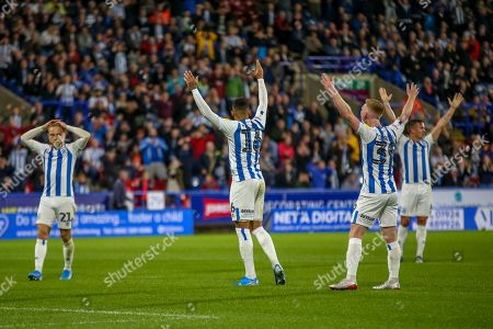 16th August 2019, John Smiths Stadium, Huddersfield England; Sky Bet Championship, Huddersfield Town vs Fulham ;, Karlan Grant (16) of Huddersfield Town appeals to the ref for a goal Credit: Craig Milner/News Images English Football League images are subject to DataCo Licence