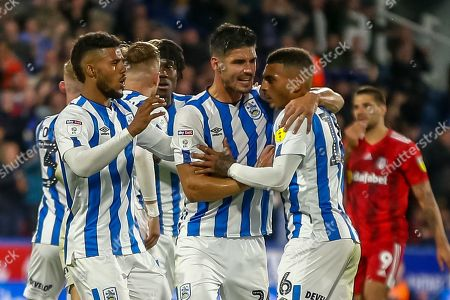 16th August 2019, John Smiths Stadium, Huddersfield England; Sky Bet Championship, Huddersfield Town vs Fulham ; Karlan Grant (16) of Huddersfield Town celebrates his goal to make it 1-1 Credit: Craig Milner/News Images English Football League images are subject to DataCo Licence