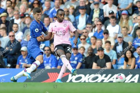 Christian Pulisic of Chelsea and Ricardo Pereira of Leicester City in action during the Premier League match between Chelsea and Leicester City at Stamford Bridge in London, UK - 18th August 2019