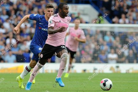 Mason Mount of Chelsea and Ricardo Pereira of Leicester City in action during the Premier League match between Chelsea and Leicester City at Stamford Bridge in London, UK - 18th August 2019