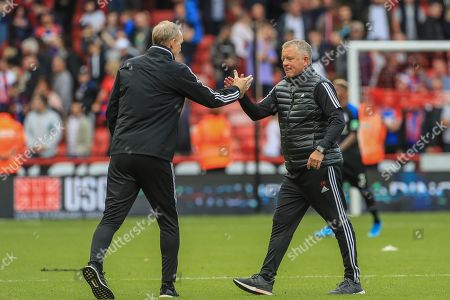 Stock Picture of 18th August 2019 , Bramall Lane, Sheffield, England; Premier League Football, Sheffield United vs Crystal Palace ; Chris Wilder manager of Sheffield United and Alan Knill celebrate they 1-0 win on their Premier League home debut   Credit: Mark Cosgrove/News Images English Football League images are subject to DataCo Licence