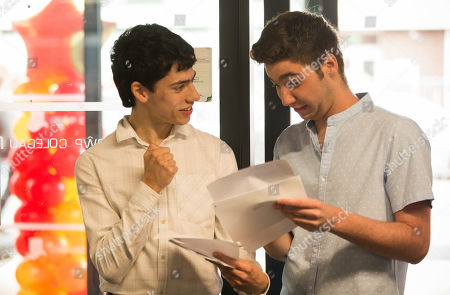 Stock Photo of Matthew Lawrence and Ewan Partington celebrates thier exam results at Neath Port Talbot College