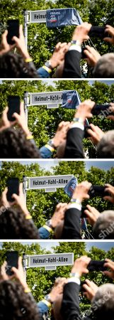 Stock Image of A composite image shows the unveiling of the Helmut-Kohl-Allee street sign in front of the 'Kunstmuseum Bonn - Museum Mile' in Bonn, Germany, 15 August 2019. The approximately 400-metre-long section adjoins Willy-Brandt-Allee and extends to Helmut-Schmidt-Platz, which was renamed in 2016. The new street name has been officially in force since 01 August 2019 and is intended to commemorate the former chancellor in the former federal capital.
