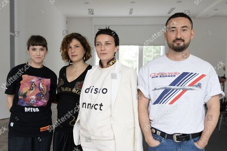 (L-R) The nominees for Prize of the National Gallery 2019, Katja Novitskova, Pauline Curnier Jardin, Flaka Haliti and Simon Fujiwara pose during a press preview for the Prize of the National Gallery 2019 (Preis der Nationalgalerie 2019) exhibition at the Hamburger Bahnhof contemporary art museum in Berlin, Germany, 15 August 2019. The art award is presented every two years to artists under the age of 40 years who live and work in Germany.