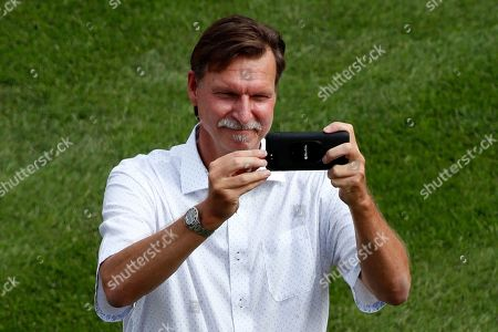 Baseball Hall of Fame pitcher Randy Johnson records his visit to the opening ceremony of the of the 2019 Little League World Series tournament in South Williamsport, Pa., . Johnson threw out a ceremonial first pitch of the tournament