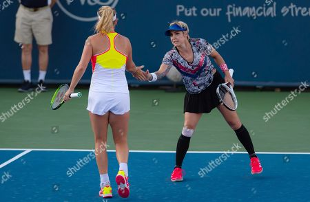 Bethanie Mattek-Sands & Coco Vandeweghe of the United States playing doubles