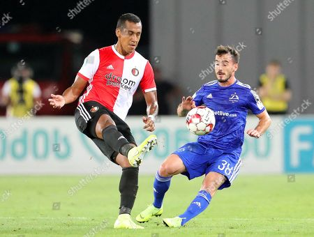 Nodar Kavtaradze (R) of Dinamo Tbilisi and Renato Tapia (L) of Feyenoord in action during the UEFA Europa League third qualifying round, second leg soccer match between Dinamo Tbilisi and Feyenoord Rotterdam in Tbilisi, Georgia, 15 August 2019.