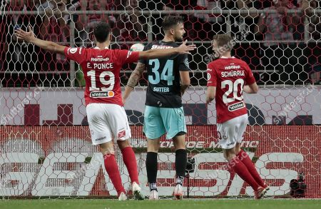 Stock Picture of Ezequiel Ponce (L) and Andre Schurrle (R) of Spartak Moscow celebrate the 1-1 during UEFA Europa League third qualifying round, second leg, soccer match between Spartak Moscow and FC Thun at Otkrytiye Arena in Moscow, Russia, 15 August 2019.