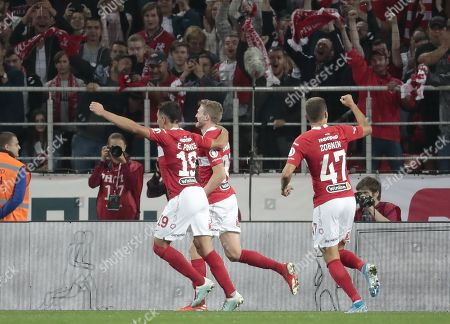 Ezequiel Ponce (L), Andre Schurrle (C) and Roman Zobnin of Spartak Moscow celebrate the 1-1 goal during UEFA Europa League third qualifying round, second leg, soccer match between Spartak Moscow and FC Thun at Otkrytiye Arena in Moscow, Russia, 15 August 2019.