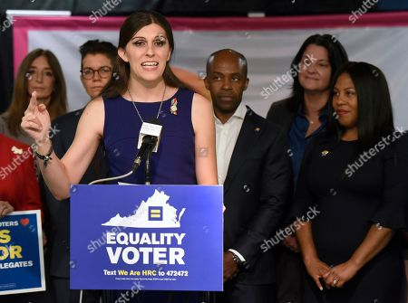 Virginia Delegate Danica Roem speaks during a news conference to announce the Human Rights Campaign's historic endorsement of 27 pro-equality candidates across Virginia on in Richmond, Va