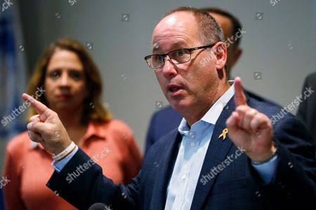 Fred Guttenberg, father of slain Marjory Stoneman Douglas student Jamie Guttenberg, speaks during a news conference, in Davie, Fla. Rep. Debbie Wasserman Schultz, D-Fla., spoke about the gun reform legislation the U.S. House has passed, state gun violence legislation, and the impact of firearm violence in the community