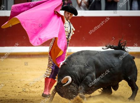 Spain's bullfighter Julian Lopez 'El Juli' fights with a bull during San Sebastian's bullfighting fair at Illumbe bullring in San Sebastian, Basque Country, Spain, 15 August 2019.
