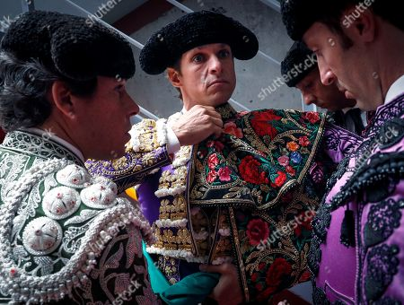 Spain's bullfighter Julian Lopez 'El Juli' prepares to take on the bullring during San Sebastian's bullfighting fair at Illumbe bullring in San Sebastian, Basque Country, Spain, 15 August 2019.