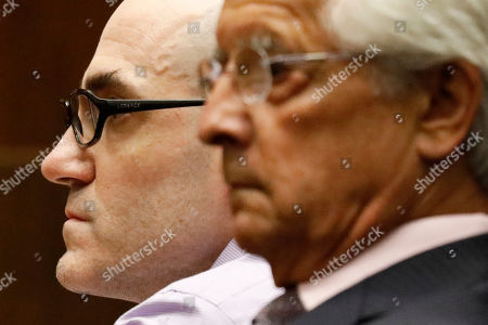 Michael Thomas Gargiulo (L) listens to the guilty verdict on all charges next to his lawyer Daniel Nardoni at the Clara Shortridge Foltz Criminal Justice Center in Los Angeles, California, USA, 15 August 2019.Michael Gargiulo, also called the 'Hollywood Ripper', has been found guilty on all counts and two first degree murders.