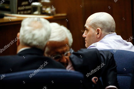 Defense attorneys, prosecutors and Michael Thomas Gargiulo (R) listen to the judge during the verdict at the Clara Shortridge Foltz Criminal Justice Center in Los Angeles, California, USA, 15 August 2019. Michael Gargiulo, also called the 'Hollywood Ripper', has been found guilty on all counts and two first degree murders.