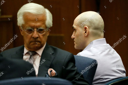 Michael Thomas Gargiulo (R) listens to the guilty verdict on all charges next to his lawyer Daniel Nardoni at the Clara Shortridge Foltz Criminal Justice Center in Los Angeles, California, USA, 15 August 2019. Michael Gargiulo, also called the 'Hollywood Ripper', has been found guilty on all counts and two first degree murders.