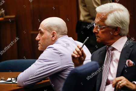 Michael Thomas Gargiulo (L) listens to the guilty verdict on all charges next to his lawyer Daniel Nardoni at the Clara Shortridge Foltz Criminal Justice Center in Los Angeles, California, USA, 15 August 2019. Michael Gargiulo, also called the 'Hollywood Ripper', has been found guilty on all counts and two first degree murders.
