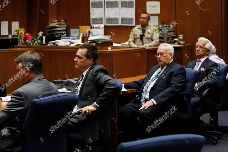 Prosecutors, defense attorneys Dale Michael Rubin (C), Daniel Nardoni (2nd R) and Michael Thomas Gargiulo (R) listen to the guilty verdict on all charges at the Clara Shortridge Foltz Criminal Justice Center in Los Angeles, California, USA, 15 August 2019.  Michael Gargiulo, also called the 'Hollywood Ripper', has been found guilty on all counts and two first degree murders.