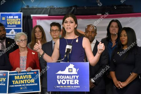 Stock Photo of Virginia Delegate Danica Roem speaks during a news conference to announce the Human Rights Campaign's historic endorsement of 27 pro-equality candidates across Virginia on in Richmond, Va