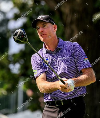 Jim Furyk of the US watches his tee shot on the fourth hole during the first round of the BMW Championship at Medinah Country Club in Medinah, Illinois, USA, 15 August 2019. The BMW Championship is the second of three playoff tournaments to determine the FedEx Cup champion.