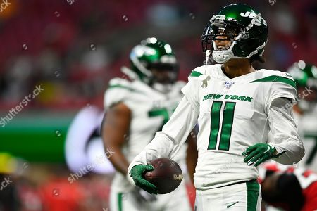 New York Jets wide receiver Robby Anderson (11) reacts to a catch against the Atlanta Falcons during the first half an NFL preseason football game, in Atlanta