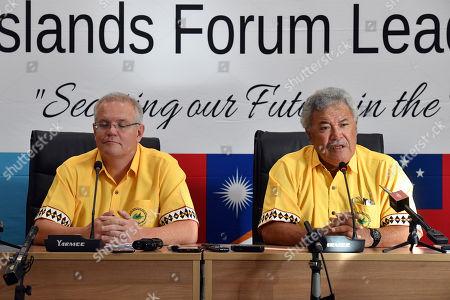 Stock Image of Australia's Prime Minister Scott Morrison (L) and Tuvalu's Prime Minister Enele Sopoaga (R) participate in a press conference during the Pacific Islands Forum in Funafuti, Tuvalu, 16 August 2019.