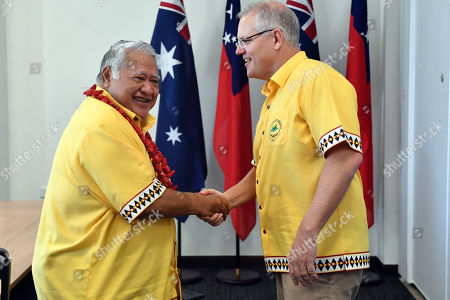 Stock Image of Samoa's Prime Minister Tuilaepa Aiono Sailele Malielegaoi (L) greets Australia's Prime Minister Scott Morrison (R) ahead of a bilateral meeting during the Pacific Islands Forum in Funafuti, Tuvalu, 16 August 2019.
