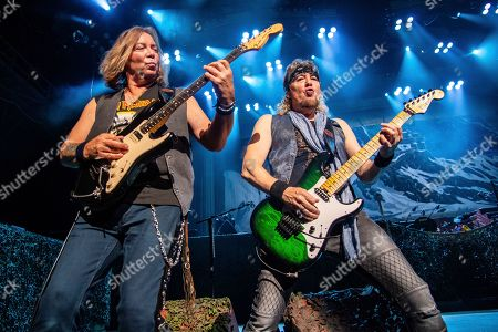 Stock Photo of Adrian Smith; Dave Murray. Dave Murray, left, and Adrian Smith of Iron Maiden perform at the Riverbend Music Center, in Cincinatti, OH