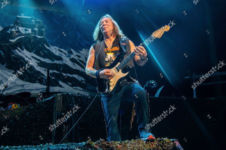 Stock Picture of Dave Murray of Iron Maiden performs at the Riverbend Music Center, in Cincinatti, OH