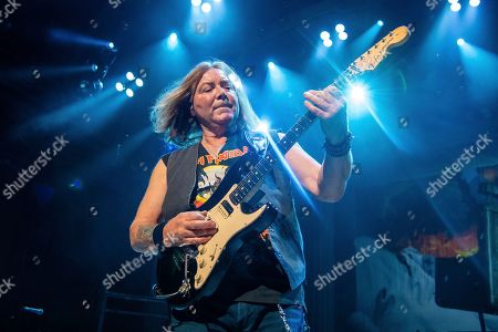 Dave Murray of Iron Maiden performs at the Riverbend Music Center, in Cincinatti, OH