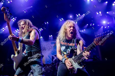 Stock Image of Steve Harris;Janick Gers. Steve Harris, left, and Janick Gers of Iron Maiden perform at the Riverbend Music Center, in Cincinatti, OH
