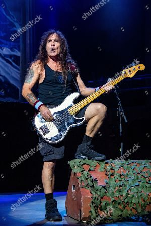 Steve Harris of Iron Maiden performs at the Riverbend Music Center, in Cincinatti, OH