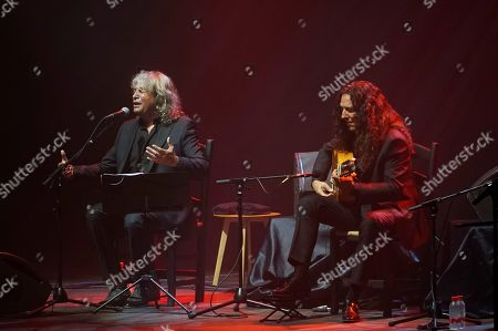 Spanish flamenco singer Jose Merce (L) and flamenco guitarist Tomatito (R) perform during their concert at the Starlite Festival in Marbella, Spain, late 15 August 2019 (issued 16 August 2019).