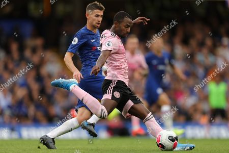 Ricardo Pereira of Leicester City shoots at goal - Chelsea v Leicester City, Premier League, Stamford Bridge, London, UK - 18th August 2019 Editorial Use Only - DataCo restrictions apply