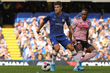 Christian Pulisic of Chelsea and Ricardo Pereira of Leicester City - Chelsea v Leicester City, Premier League, Stamford Bridge, London, UK - 18th August 2019 Editorial Use Only - DataCo restrictions apply