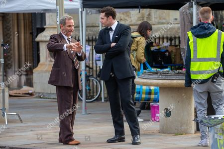 Robson Green and Tom Brittney filming in Cambridge for the ITV drama Grantchester