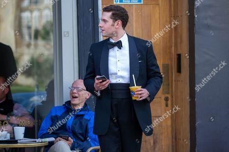 Tom Brittney filming in Cambridge for the ITV drama Grantchester