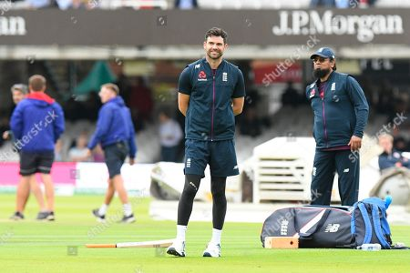 James Anderson of England during the warm up ahead of the International Test Match 2019 match between England and Australia at Lord's Cricket Ground, St John's Wood
