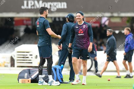 Rory Burns of England with James Anderson of England during the warm up ahead of the International Test Match 2019 match between England and Australia at Lord's Cricket Ground, St John's Wood