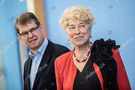 Deputy Chairman of the German Social Democratic Party (SPD) Ralf Stegner (L) and Gesine Schwan, chairwoman of the German Social Democratic Party (SPD) core-values commission (R) during a press conference at the Federal Press Conference in Berlin, Germany, 16 August, 2019. The two politicians presented their joint candidacy for the SPD leadership. Since the resignation of former SPD leader Andrea Nahles and low support rates in several local and federal election campaigns in the country, some voices from with in the party note that the SPD will need a double headed leadership to handle its challenges.