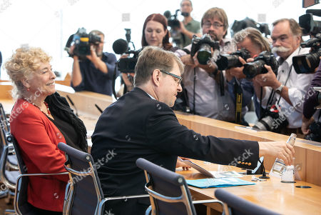 Stock Image of Deputy Chairman of the German Social Democratic Party (SPD) Ralf Stegner (R) and Gesine Schwan, chairwoman of the German Social Democratic Party (SPD) core-values commission (L) during a press conference at the Federal Press Conference in Berlin, Germany, 16 August, 2019. The two politicians presented their joint candidacy for the SPD leadership. Since the resignation of former SPD leader Andrea Nahles and low support rates in several local and federal election campaigns in the country, some voices from with in the party note that the SPD will need a double headed leadership to handle its challenges.
